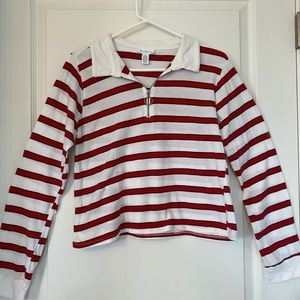 Striped long sleeve collared shirt